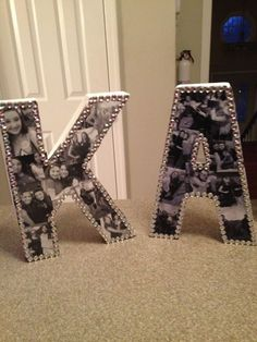 "Learn how to make DIY Bejeweled Photo Collage Letters on ""Sparkle and Shine"" - they're the perfect gift for your big, little, or best friend! Letter Photo Collage, Cardboard Letters, Diy Letters, Craft Stores, Christmas Presents, College Room, Room Ideas, Dyi, Bookends"