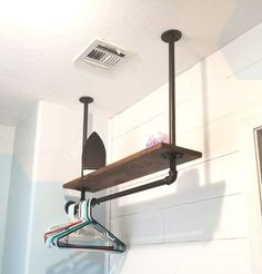 Hanging Pipe shelf. Made from plumbing pipe from home .., Plumbing Pipe Shelves, Plumbing Pipe Furniture, Diy Furniture, Pipe Shelving, Drying Room, Plumbing Problems, Laundry Room Design, Sweet Home, New Homes