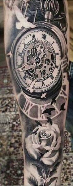 Trendy tattoo sleeve men arm clock pocket watches – Watch for everyone Time Piece Tattoo, Pieces Tattoo, Time Tattoos, Tatoos, Trendy Tattoos, Popular Tattoos, Tattoos For Guys, Cool Tattoos, Arm Sleeve Tattoos