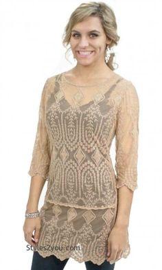 NEW LOWER PRICE...... Adella Victorian Lace Tunic In Mocha