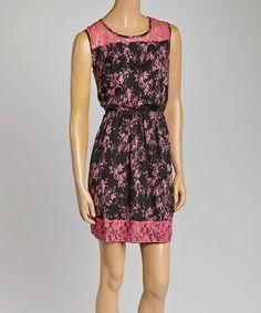 Black & Pink Lace A-Line Dress #zulily #zulilyfinds