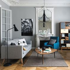 Ideas Apartment Living Room Grey Couch Pillows For 2019 Living Room White, White Rooms, Home Living Room, Apartment Living, Living Room Designs, Living Room Decor, Parisian Apartment, Small Living, Living Spaces