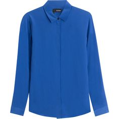 See this and similar The Kooples blouses - Add a pop of color to your workweek staples with this electric blue blouse from The Kooples - Spread collar, long sle...