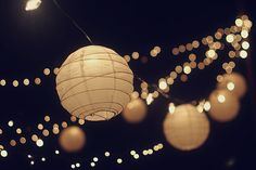 twinkle lights and mini lanterns for outside dance area