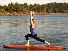 Megan practicing her Low Warrior Pose on our new Yachats Yoga Board! #CBWSUP #YOGA #YOGASUP #SUP #WOODWORKING