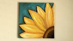 Sunflower Canvas Paintings, Simple Canvas Paintings, Beginner Painting, Easy Paintings For Beginners, Acrylic Painting For Beginners, Easy Flower Painting, Easy Canvas Art, Canvas Painting Tutorials, Sunflower Art