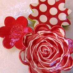 red rose dish set for your home decor by maryjudy on Etsy, $24.00