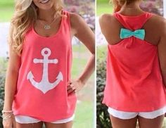 Our Anchors Away Bow tank is simply adorable and makes comfort look stylish! This tank is made of a french terry knit with Anchor Print Tank Top with a Bow Back Sizing Details: Length Bust Bust: S-32""