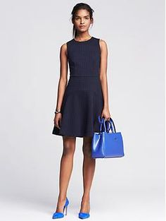 Square Jacquard Fit-and-Flare Dress