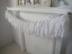 Your place to buy and sell all things handmade Rag Garland, Fabric Garland, Fabric Decor, Shabby Chic Garland, Shabby Chic Decor, White Lace Fabric, White Fabrics, Garland Nursery, Nursery Decor