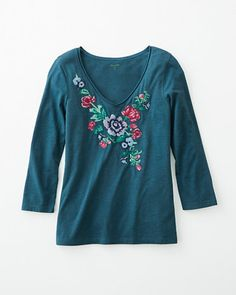 Embroidered Three-Quarter-Sleeve Knit Top