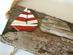 Red Sailboat  Driftwood Key rack / Holder / Key / by maisiev, £11.50