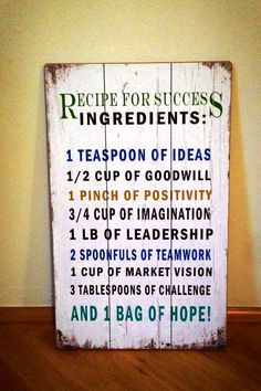 I´ve found the Recipe for Success! Here it is…