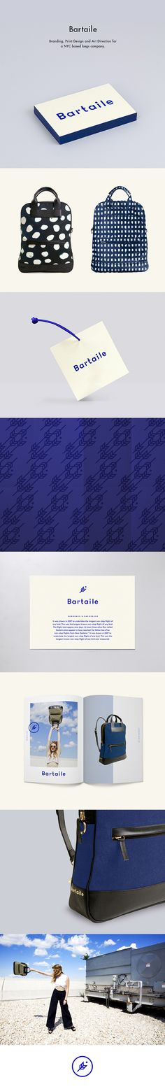 Logo Design, Branding, Hangtags, Packaging Design, Tissue Paper, Art Direction for Bartaile. Inspired by a busy lifestyle, Bartaile makes bags that transform to backpacks. The brands name is inspired by a bird, the bar-tailed godwit that can travel for miles without a stop.