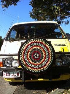 Crochet 70's Inspired Tyre Wheel Cover