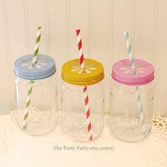 Plastic Mason Jars, 15 Mason Jars with Lids, UNBREAKABLE Party Drink Jars, Wedding Favor Jars, Kids Plastic Cups, Pink Lemonade Party Jars
