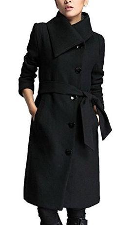 SALE PRICE -  57.99 - Lingswallow Women s Winter Thicken Long Wool Trench  Coat Jacket With Belt 4ba968b8329