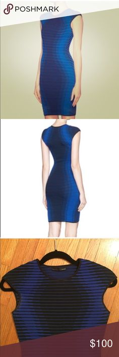 RVN Blue Shadow Jacquard Sheath Dress Beautiful slimming dress in great condition only worn twice RVN bandage dress. RVN Dresses