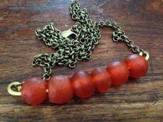 Unique orange bar necklace made from by TheBeadedArmadillo on Etsy