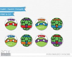 TMNT Birthday Cupcake Toppers Ninja Turtles by RoxCreativeDesign