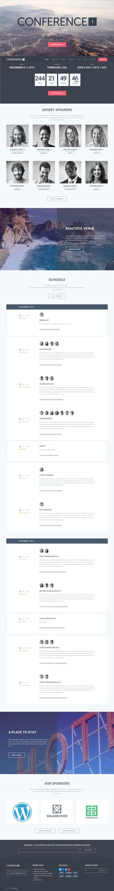 Conference, as it's name suggests, was created from the start to be the easiest, quickest and most robust #conference WordPress theme available. We designed our conference theme and free plugins to be simple to use, intuitive and powerful, and most importantly results orientated.#events #webinar #website