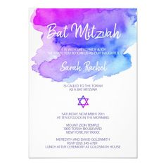 Shop Personalized Watercolor Purple Blue Bat Mitzvah Invitation created by CustomCardShop. Bat Mitzvah Themes, Bat Mitzvah Party, Bar Mitzvah, Bat Mitzvah Invitations, Custom Invitations, Party Invitations, Invite, Watercolor Invitations, Custom Cards