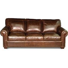 Classic Traditional Pecan Brown Leather Sofa Sleeper