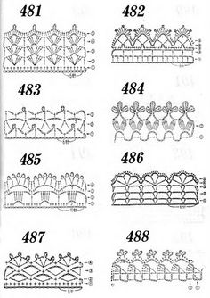 many crochet edgings Filet Crochet, Crochet Diy, Crochet Lace Edging, Crochet Motifs, Crochet Borders, Crochet Diagram, Crochet Stitches Patterns, Crochet Chart, Love Crochet