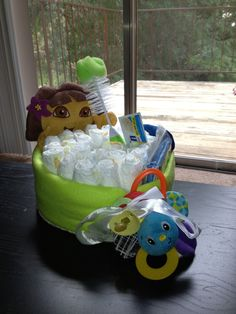 Diaper Cake for baby shower, customize for recipient, under $25!  Love that it looks like a bubble bath :)