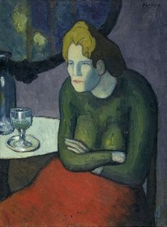"2/2 - Pablo Picasso (1881-1973), 1901, The Absinthe Drinker, oil on canvas. This painting is on the reverse side of ""Woman in the Loge""."