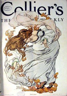 Art Nouveau (-stijl) Vrouw *Lady ~Tekst: Colliers - Autum 1908. Illustratie van Clara Elsene Peck~