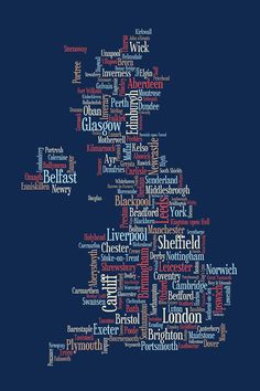 Great Britain Uk City Text Map Canvas Print / Canvas Art by Michael Tompsett