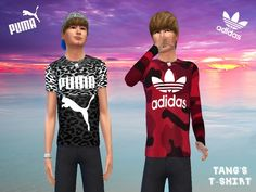 Puma leopard t-shirt and red adidas t-shirt for male sims. Found in TSR Category 'Sims 4 Male Clothing sets'