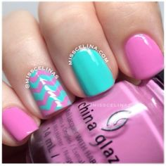 pink and teal nails with chevron accent nail♥♥
