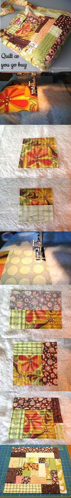 Quilt as you go bag tutorial - Learn this easy patchwork technique.