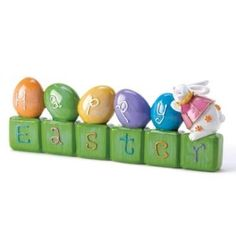 Amazon.com: Playful Happy Easter Egg Bunny Rabbit Block Greetings: Home & Kitchen