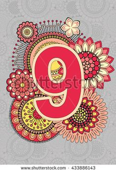 Bright Numbers. Mandala and Flowers. Isolated Vector Elements.