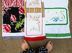 dishtowels from old linens with fun trim