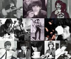Hot Dudes Doing Cute Things: The Beatles Love Tea (and British Stereotypes) British Stereotypes, John Lennon Paul Mccartney, Beatles Love, Marianne Faithfull, Rocker Girl, She Loves You, All About Music, The Fab Four, Rock Bands