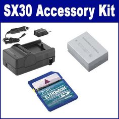 Canon PowerShot SX30 IS Digital Camera Accessory Kit includes: SDNB7L Battery, SDM-198 Charger, KSD2GB Memory Card by Synergy. $26.33. Canon PowerShot SX30 IS Digital Camera Accessory Kit includes the following items: 1) NB-7L Lithium-Ion Rechargeable Battery (7.4v 1300mAh) - Replacement For Canon NB-7L Battery 2) Mini Battery Charger Kit For Canon NB-7L Battery - With fold-in wall plug, car & EU adapters - Replacement For Canon CB-2LZ Charger 3) 2GB Standard S...
