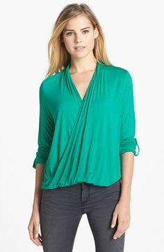 Two by Vince Camuto Roll Tab Sleeve Wrap Front High/Low Top available at #Nordstrom
