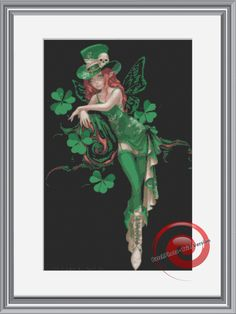 St. Patricks Day Irish Fairy Counted Cross Stitch Pattern, Instant Download PDF, Relaxation, Meditations