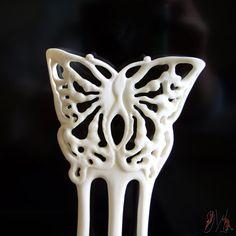 Hair fork Hand Carved Bone Natural color in by mariya4woodcarving, $142.00