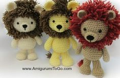 Little Bigfoot Lion - Free Amigurumi Pattern here: http://www.amigurumitogo.com/2014/12/crochet-lion-pattern-free.html