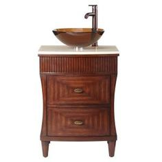 Home Decorators Collection Fuji 24 in. Vanity in Old Walnut with Marble Vanity Top in Cream-1585500890 at The Home Depot