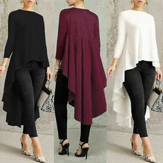 Plus Women Long Sleeve Asymmetrical Waterfall Shirt Tops High Low Hem Blouse Tops Vintage, Plus Size Blouses, African Dress, Long Sleeve Sweater, African Fashion, Blouse Designs, Blouses For Women, Fashion Dresses, Midi Dresses