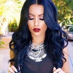 Dark Blue Hair Dye, Blue Black Hair Color, Navy Blue Hair, Black Hair Tips, Corte Y Color, Gorgeous Hair, Gorgeous Makeup, Hair Hacks, Hair Inspiration