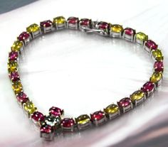 72.5 ct Natural Tourmaline tennis bracelet sterling silver Natural lustrous rare