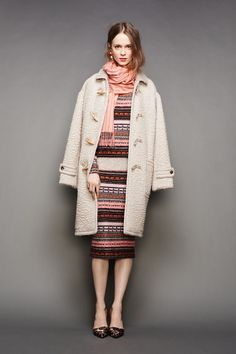 Fuzzy duffle coat and leopard pumps for the  J.Crew Fall/Winter 2015 Presentation