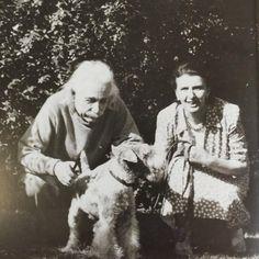 Albert Einstein with his Wire Fox Terrier